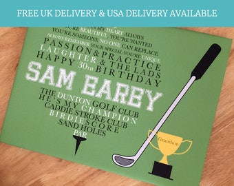 Golf Gifts, Golf fan, Fathers Day Gift, Gifts For Him, Grandad Gift, Sport Lover, Golf Keepsake, Golf Gift, Golf Print, Dads Birthday Gift,