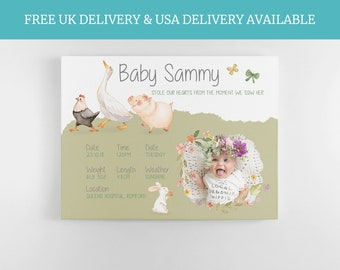 Nursery Wall Decor, earthy baby, animal theme print, Boho Baby, Farm nursery, unisex baby gift, newborn keepsake, Babies bedroom ideas,