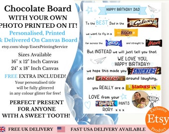 Personalised Birthday Chocolate Message Board Printed - Personalised Gifts - Gifts For Him - Fathers Day - Chocolate Gift - Chocolate Card