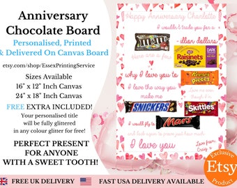 Anniversary Chocolate Board PRINTED & POSTED | Valentines Chocolate Board | Personalised Chocolate Board | Candy Poster