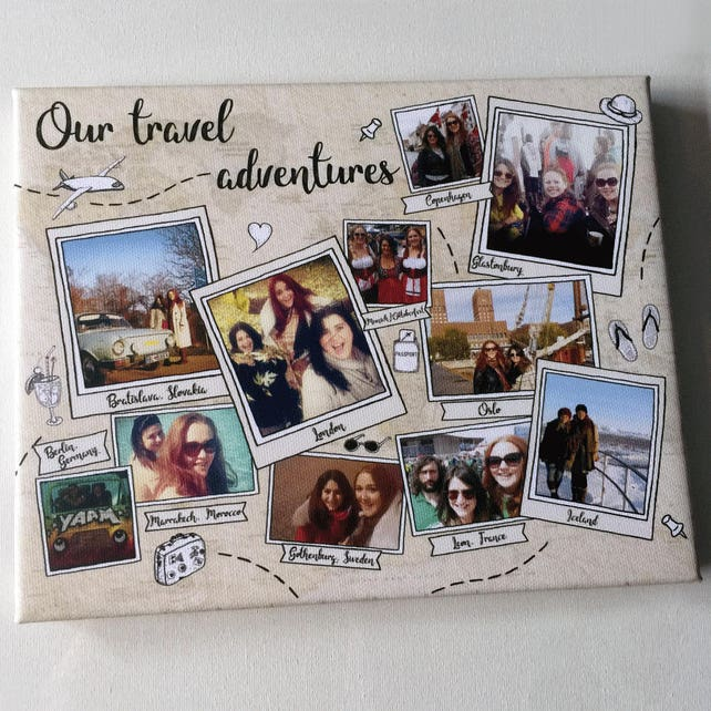 Personalizada collage vacaciones fotos mapa recuerdo viajando   Etsy