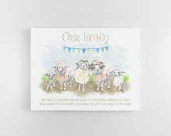Personalised sheep print   Family print   Sheep gifts for friends & family