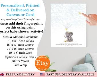 Elephant Fingerprint Guest Book Baby Shower Print   Gender Neutral