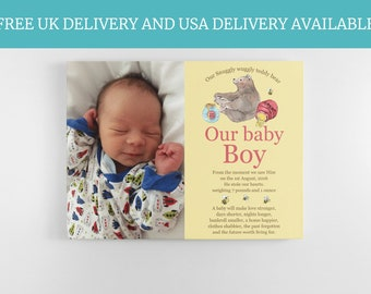 Personalised newborn baby nursery keepsake new baby gifts handmade babies bedroom picture