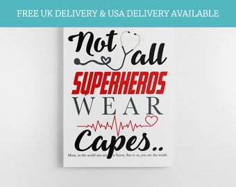 Mothers Day Gift - Gift for NHS nurse, doctor keepsake, nursing quote, Care Worker Gift, Hero quote, Superhero NHS,