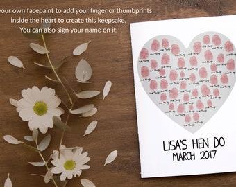 Personalised hen night keepsake fingerprint picture gift maid of honour thumbprint wedding gift for bride