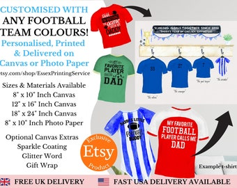 Personalised Fathers Day Football Shirt Print, Personalised Gift for Dad, Custom Football Gift,Birthday Gift for Dad, Grandad,Canvas Print
