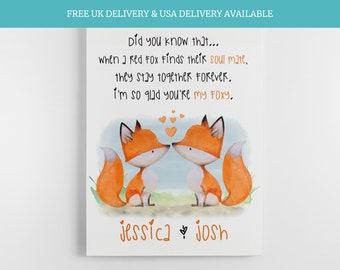 Fox themed gift cute valentines day gifts for girlfriend boyfriend 1st anniversary keepsake,valentines gift for him, valentines gift for her