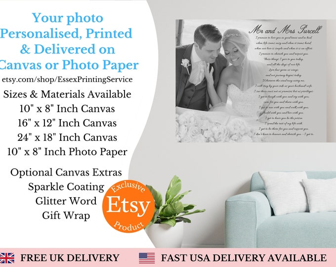 Featured listing image: First Dance Lyrics On Canvas Wedding Song Lyrics wall art Custom Song Lyric Art Wedding Vows Anniversary Gift Personalised Lyrics Gift