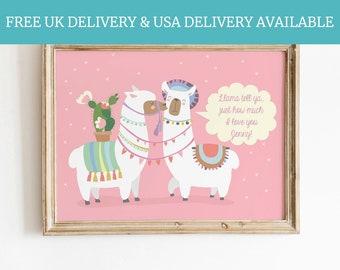 Llama Gift for girlfriend personalised Llama lover bedroom anniversary animal keepsake funny llama quote
