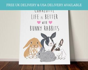 Personalised bunny rabbit quote gift animal theme girls bedroom daughter keepsake
