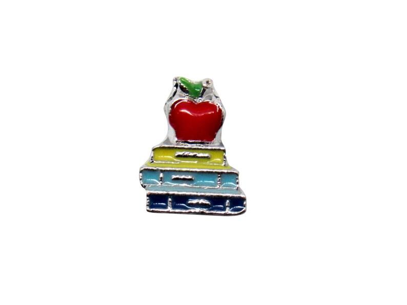 Fast Low Shipping Bulk Wholesale Living Locket Charm USA Seller Books /& Apple Charm Teachers Gift