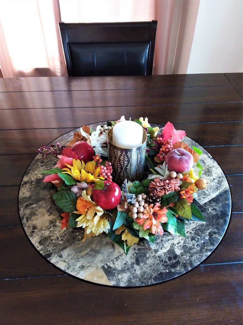 Autumn Floral Candle Ring-Harvest Table Centerpiece-Thanksgiving Table Centerpiece-Thanksgiving Table Arrangement-Thanksgiving Candle RIng