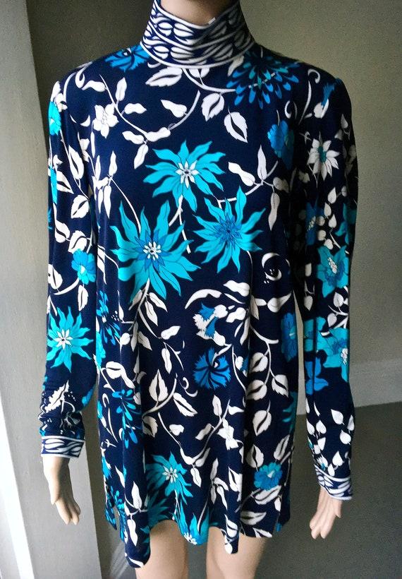 1980s Averardo Bessi Blue White Silk Jersey Floral