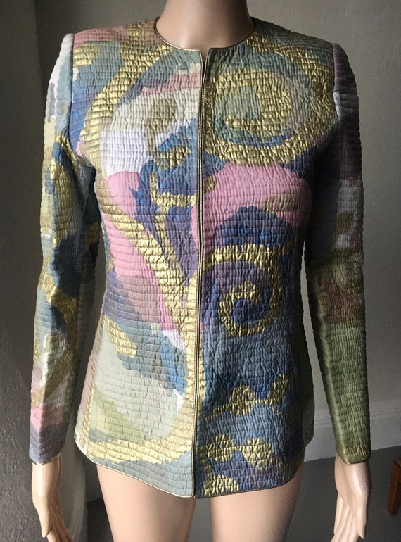 Mary McFadden COUTURE Multicolor Quilted Jacket