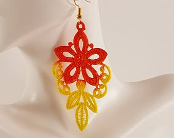 Orange and Yellow lace earrings Orange lace earrings Yellow lace jewelry Embroidered earrings Embroidered jewelry Ombre earrings Yellow lace