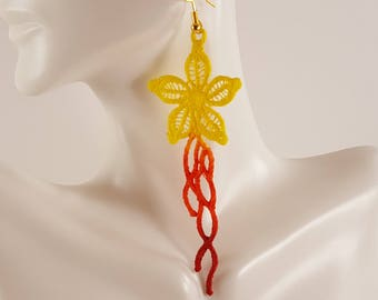Colorful lace earrings Colorful earrings Painted earrings Painted Jewelry Yellow lace jewelry Orange lace earrings Red lace earrings  Ombre