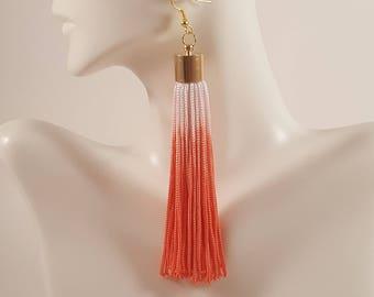 Tassel earrings, pink coral tassel earrings, fringe earrings, coral earrings, ombre earrings, ombre jewelry, coral statement earrings