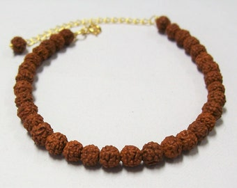 "Stylish Natural Rudraksha Beads Bracelet 7""+2"" Adjustable"