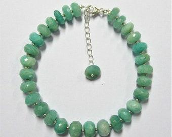 "Amazonite Gemstone Beads 925 Sterling Silver Bracelet Jewelry 8""+2"" Adjustable"