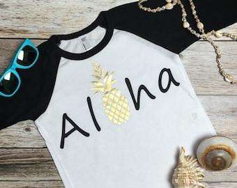 Aloha baseball tee.Aloha Shirt.Aloha.Hola.Hello.Hawaiian Vacation Shirt.Hawaii shirt. Hawaii Vacation Shirt.Aloha Kids Shirt.Hawaii Kids.
