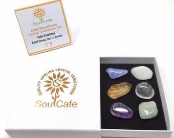 Calm Emotions - 6 Grade A tumblestones - Healing Crystal Gemstones - Gift Set – Aquamarine - Amethyst - Quartz - Citrine - Blue Lace Agate