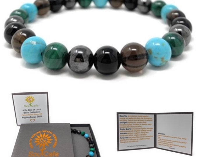 Men's Negative Energy Shield Power Bead Bracelet - Malachite, Shungite, Turquoise, Smoky Quartz, Magnetic Hematite - Gift Box & Tag
