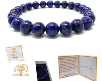 Lapis Lazuli Power Bead Crystal Bracelet - Genuine Healing Crystal Gemstone Bracelet - Soul Cafe Gift Box & Tag