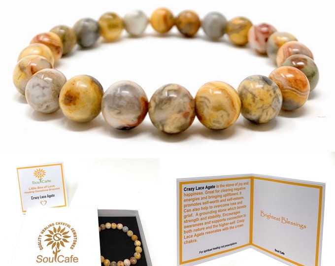 Crazy Lace Agate Power Bead Crystal Bracelet - Healing Crystal Gemstone Bracelet - Soul Cafe Gift Box & Tag