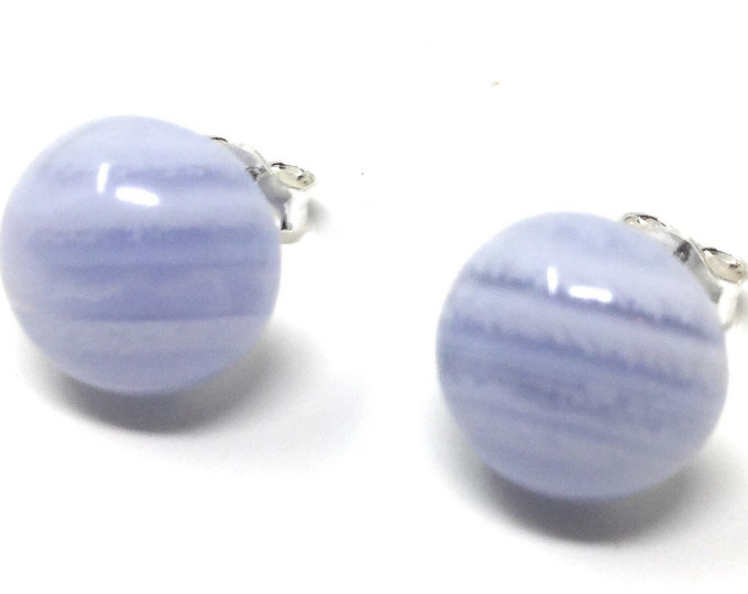 Blue Lace Agate & Sterling Silver Stud Earrings 10mm - Healing Gemstones - gift box  - Little Box of Love - gift tag