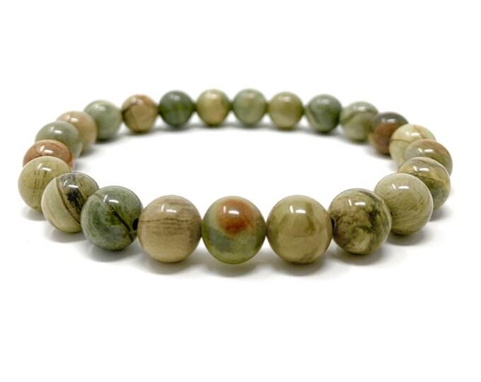 Green Silver Leaf Jasper Power Bead Crystal Bracelet - Healing Crystal Gemstone Bracelet - Gift Box & Tag - Size choices