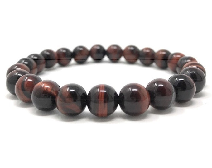 Red Tigers Eye Power Bead Crystal Bracelet - Healing Crystal Gemstone Bracelet - Size choices - Gift Box & Tag