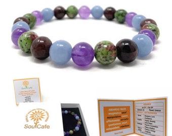 Aquarius Crystal Bracelet - Power Bracelet - Zodiac Birthstones - Gift Box & Aquarius Tag - Garnet, Angelite, Amethyst, Ruby in Zoisite