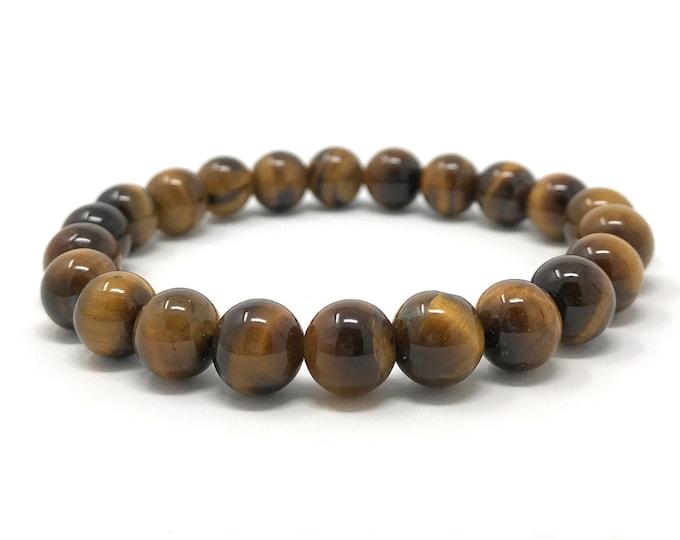 Tigers Eye Power Bead Crystal Bracelet - Healing Crystal Gemstone Bracelet - Size choices - Gift Box & Tag