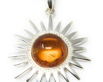 Amber Sun Necklace - Sterling Silver & Amber Pendant - Healing Crystal Gemstones - Celestial Jewellery - 2.5cm x 2.5cm