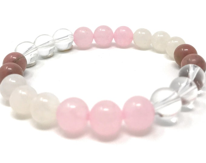 Love Crystals Power Bead Bracelet - Healing Crystal Gemstone Bracelet - Gift Box & Tag - Choice of sizes
