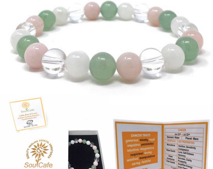 Cancer Crystal Bracelet - Power Bracelet - Zodiac Birthstones - Gift Box & Cancer Tag - Moonstone, Rose Quartz, Aventurine, Clear Quartz