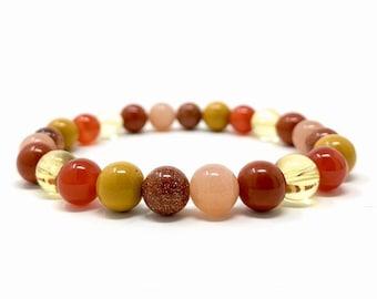 Positive Energy Power Bead Bracelet - Stretch Healing Gemstone Bracelet - Crystal Bead Bracelet - Soul Cafe Gift Box & Tag