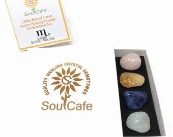 Scorpio Crystal Set - Zodiac Birthstones - Scorpio Tumblestone Gift - Scorpio Information Tag - Aquamarine, Rose Quartz, Citrine, Sodalite