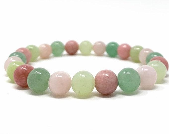 Heart Chakra Bracelet - Power Bead Bracelet - Healing Crystal Gemstones - Size Choice - Green Aventurine, Rose Quartz, Jade, Rhodochrosite