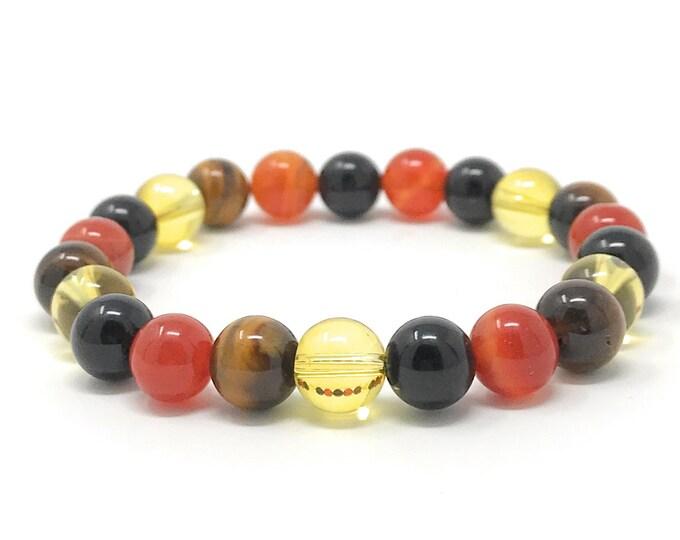 Leo Crystal Bracelet - Power Bracelet - Zodiac Birthstones - Gift Box & Leo Tag - Onyx, Sardonyx, Citrine, Tigers Eye