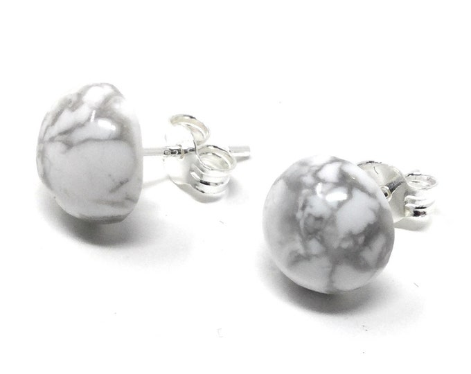 Howlite Stud Earrings -  Sterling Silver & Howlite Earrings - Healing Gemstones -  8mm Stud Earrings