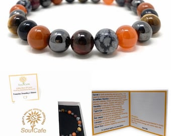 Protection Bracelet - Power Bead Bracelet - Healing Gemstone Bracelet - Soul Cafe Gift Box & Information Tag - Grounding Bracelet