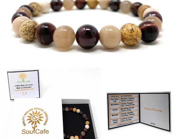 Men's Stretch Power Bead Bracelet - Red Tigers Eye, Moonstone, Garnet, Picture Jasper, Mookaite Gift Box & Tag