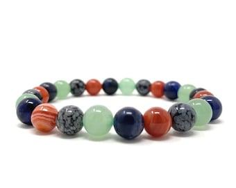 Virgo Crystal Bracelet - Power Bracelet - Zodiac Birthstones - Gift Box & Virgo Tag - Sardonyx, Aventurine, Snowflake Obsidian, Sodalite