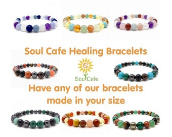Soul Cafe Healing Crystal Bracelets - Size Choice Customisation - Includes Gift Box & Information Tag