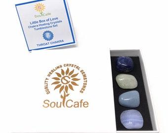 Throat Chakra Balancing Set -  Healing Crystal Gemstones - Tublestone Set - Aquamarine, Angelite, Sodalite, Blue Lace Agate