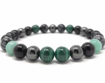 Men's Power Bead Bracelet - Black Tourmaline, Malachite, Amazonite, Hematite, Snowflake Obsidian- Size Choice - Gift Box & Tag