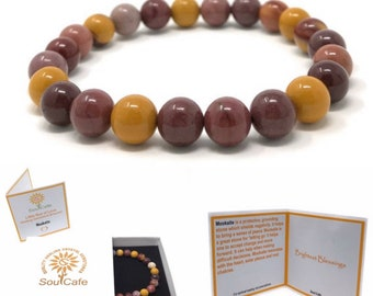 Mookaite Power Bead Crystal Bracelet - Healing Crystal Gemstone Bracelet - Soul Cafe Gift Box & Tag