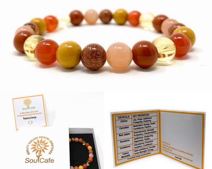 Positive Energy Power Bead Bracelet - Stretch Healing Gemstone Bracelet - Crystal Bead Bracelet - Soul Cafe Gift Box & Tag